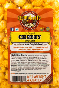 Campbell's Famous Popcorn Everyone's Favorite Trio with Dichotomy, Caramel, Cheddar with 3 Flavor Box. Popped fresh and delivered fast in gift tins, bags, and boxes. Visit www.campbellsfamouspopcorn.com. Cheezy flavor bag