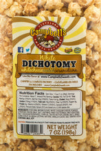 Load image into Gallery viewer, Campbell's Famous Popcorn Sweet Savory Fruity with Dichotomy, Cinnamon Roll, Kettle, Fruity with 6 Flavor Box. Popped fresh and delivered fast in gift tins, bags, and boxes. Visit www.campbellsfamouspopcorn.com. Kettlecorn flavor bag