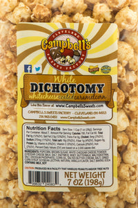Campbell's Famous Popcorn Sweet Savory Fruity with Dichotomy, Cinnamon Roll, Kettle, Fruity with 6 Flavor Box. Popped fresh and delivered fast in gift tins, bags, and boxes. Visit www.campbellsfamouspopcorn.com. Kettlecorn flavor bag