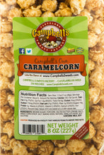 Load image into Gallery viewer, Campbell's Famous Popcorn Sweet Savory Fruity with Dichotomy, Cinnamon Roll, Kettle, Fruity with 6 Flavor Box. Popped fresh and delivered fast in gift tins, bags, and boxes. Visit www.campbellsfamouspopcorn.com. Caramelcorn flavor bag