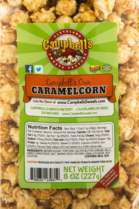 Campbell's Famous Popcorn Sweet Savory Fruity with Dichotomy, Cinnamon Roll, Kettle, Fruity with 6 Flavor Box. Popped fresh and delivered fast in gift tins, bags, and boxes. Visit www.campbellsfamouspopcorn.com. Caramelcorn flavor bag