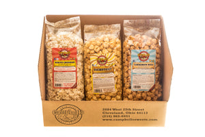Campbell's Famous Popcorn Sweet Savory Cinnamon with Dichotomy, White Cheddar, Cinnamon Roll with 3 Flavor Box. Popped fresh and delivered fast in gift tins, bags, and boxes. Visit www.campbellsfamouspopcorn.com. Box front