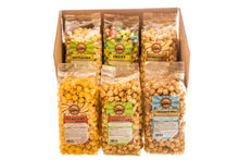 Load image into Gallery viewer, Campbell's Famous Popcorn Sweet Savory Fruity with Dichotomy, Cinnamon Roll, Kettle, Fruity with 6 Flavor Box. Popped fresh and delivered fast in gift tins, bags, and boxes. Visit www.campbellsfamouspopcorn.com. Box front