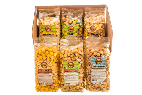 Campbell's Famous Popcorn Sweet Savory Fruity with Dichotomy, Cinnamon Roll, Kettle, Fruity with 6 Flavor Box. Popped fresh and delivered fast in gift tins, bags, and boxes. Visit www.campbellsfamouspopcorn.com. Box front