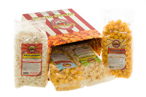 Campbell's Famous Popcorn Taste of Cheddar Beer with Dichotomy, White Cheddar, Kettle, Beer with 4 Flavor Box. Popped fresh and delivered fast in gift tins, bags, and boxes. Visit www.campbellsfamouspopcorn.com. Side of box with bags