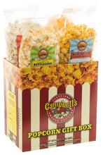 Load image into Gallery viewer, Campbell's Famous Popcorn Taste of Cheddar Beer with Dichotomy, White Cheddar, Kettle, Beer with 4 Flavor Box. Popped fresh and delivered fast in gift tins, bags, and boxes. Visit www.campbellsfamouspopcorn.com. Front of box