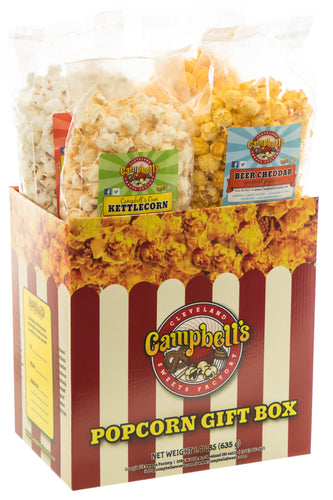 Campbell's Famous Popcorn Taste of Cheddar Beer with Dichotomy, White Cheddar, Kettle, Beer with 4 Flavor Box. Popped fresh and delivered fast in gift tins, bags, and boxes. Visit www.campbellsfamouspopcorn.com. Front of box