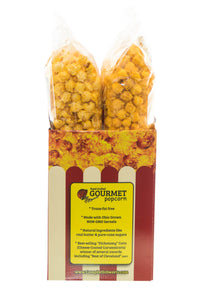 Campbell's Famous Popcorn Taste of Cheddar Beer with Dichotomy, White Cheddar, Kettle, Beer with 4 Flavor Box. Popped fresh and delivered fast in gift tins, bags, and boxes. Visit www.campbellsfamouspopcorn.com. Back of box