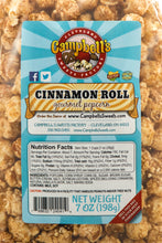 Load image into Gallery viewer, Campbell's Famous Popcorn Sweet Savory Cinnamon with Dichotomy, White Cheddar, Cinnamon Roll with 3 Flavor Box. Popped fresh and delivered fast in gift tins, bags, and boxes. Visit www.campbellsfamouspopcorn.com. Cinnamon Roll flavor bag