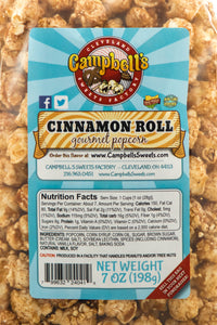 Campbell's Famous Popcorn Sweet Savory Fruity with Dichotomy, Cinnamon Roll, Kettle, Fruity with 6 Flavor Box. Popped fresh and delivered fast in gift tins, bags, and boxes. Visit www.campbellsfamouspopcorn.com. Cinnamon Roll flavor bag