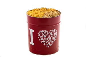 Campbell's Famous Popcorn Cheesy Sweet Crunch with Dichotomy, Caramel, Kettle with 3 Flavor 2 Gallon Tin. Popped fresh and delivered fast in gift tins, bags, and boxes. Visit www.campbellsfamouspopcorn.com. View of 2 gallon tin