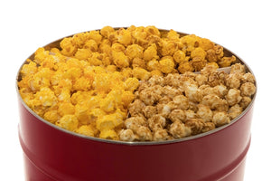Campbell's Famous Popcorn Cheesy Sweet Crunch with Dichotomy, Caramel, Kettle with 3 Flavor 2 Gallon Tin. Popped fresh and delivered fast in gift tins, bags, and boxes. Visit www.campbellsfamouspopcorn.com. Top view