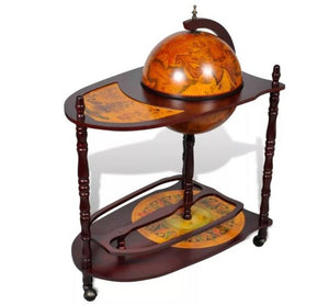 VidaXL Wood Freestanding Globe Bar Wine Stand With Plenty Of Room For Wine, Spirits, Beverage And Stemware For Home Or Bar - Wines Club