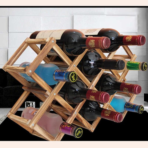 Classical Wooden Red Wine Rack Beer Foldable 10 Bottle Holder Kitchen Bar Display Shelf Organizer Mount Kitchen Bar Displa - Wines Club