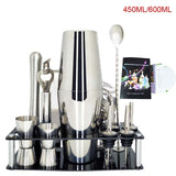 1-14 Pcs/set 600ml 750ml Stainless Steel Cocktail Shaker Mixer Drink Bartender Browser Kit Bars Set Tools With Wine Rack Stand - Wines Club