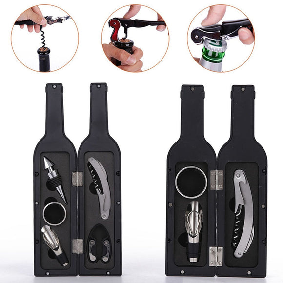 Hot 1 Set 3pcs/5pcs Wine Bottle Corkscrew Set Tool Bottle-Shaped Holder Bottle Opener Gift MDD88 - Wines Club