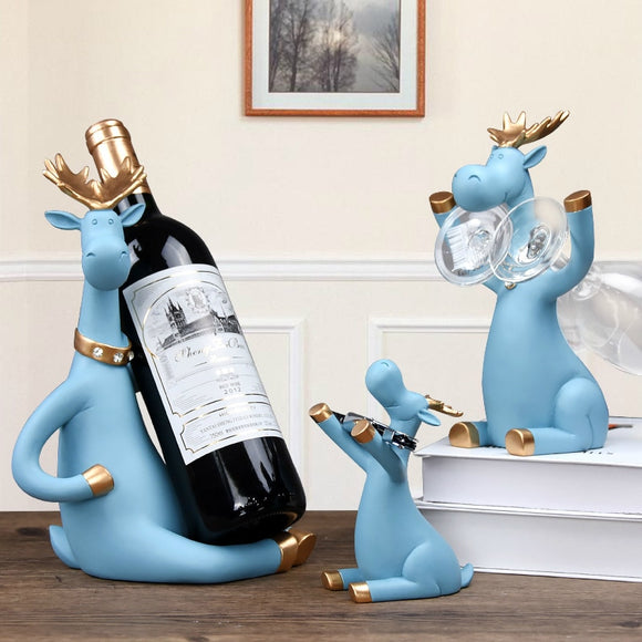 3pcs/set Elk Wine Racks Beer Holder Deer Miniature Figurines Standing Whiskey Red Wine Bottle Holder Cabinet for Wine Home Decor - Wines Club