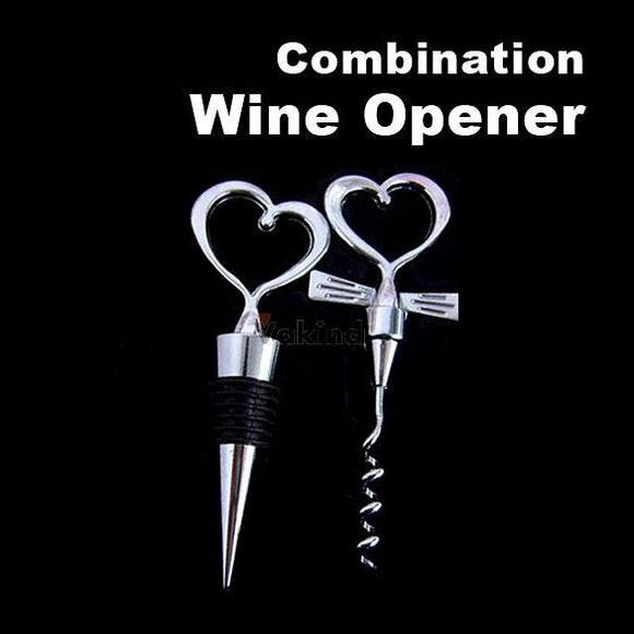 Heart Shaped Wine opener Bottle stopper combination free shipping - Wines Club