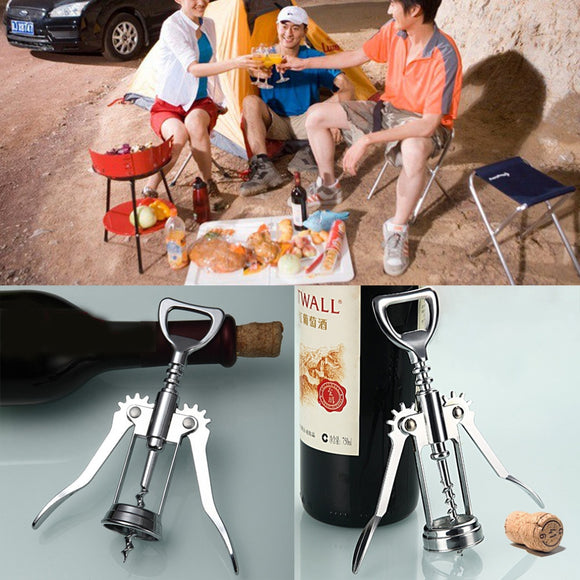 1Pc Stainless Steel Bottle Opener Waiter Metal Wine Corkscrew Bottle Handle Opener Corkscrews 16 x 5.5 x3.5cm - Wines Club