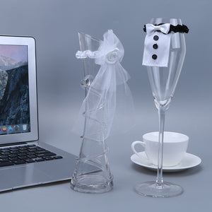 2pcs Wedding Glass Cups Set Wine Glasses Covers Creative Chic Cloth Beer Bottles Champagne Decoration Black White - Wines Club