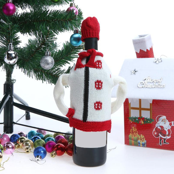 Christmas Wine Bottle Cover Knitting Sweater new year navidad Dinner Table Decorations Christmas decorations for home party - Wines Club