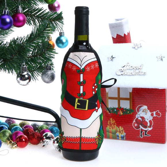 4pcs Small Apron Bottle Wine Cover Table Dinner Wine Bottle Cover christmas apron Xmas navidad Christmas Decorations for home