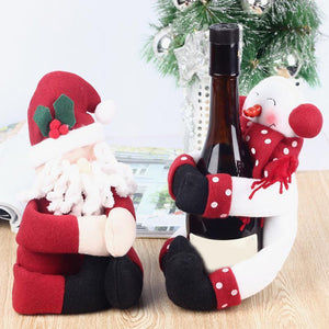 2 Pcs Red Christmas Wine Bottle Cover Bags Hug Santa Claus Snowman Dinner New Year Decoration Home Christmas Party - Wines Club