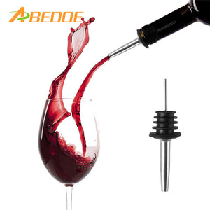 ABEDOE 1pc Liquor Red Wine Pourers Spouts Free Flow Wine Bottle Pour Spout Stopper Barware Stainless Steel Bar Supplies - Wines Club