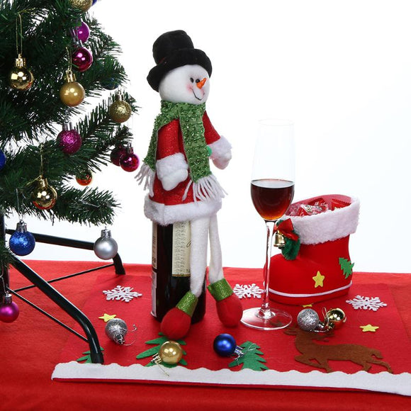 Santa Claus Red Wine Bottle Cover Bags For Christmas New Year Party Snowman Red Wine Bottle Decor Christmas Decoration Supplies - Wines Club