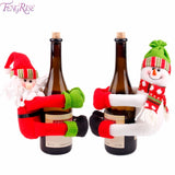 FENGRISE Christmas Wine Bottle Cover Snowman Santa Claus Bottle Cover Dinner Table Christmas Decorations for Home Xmas Ornaments - Wines Club