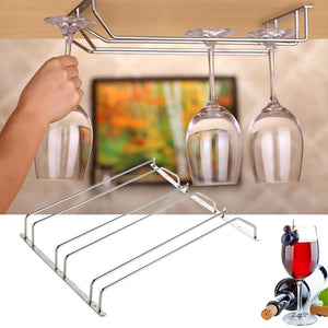 Stainless Steel Wine Glass Holder Wine cup Hanging Drinking Stemware Rack Under Cabinet Storage Organizer Under Cabinet Kitchen - Wines Club