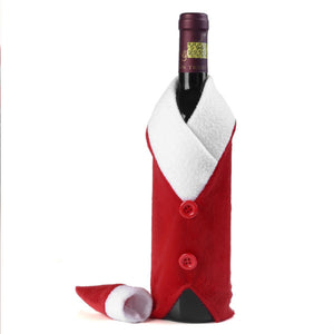 Christmas Red Wine Bottle Covers Clothes With Hats Santa Claus Button Decor Bottle Cover Cap Kitchen Decoration For Dinner Party - Wines Club