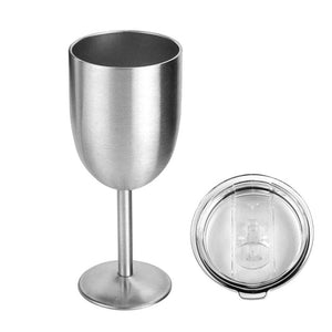 Glass Wine Goblets Stainless Steel Wine Glass Double Walled Beer Wine Glasses with Removeable Sliding Closure Lid - Wines Club