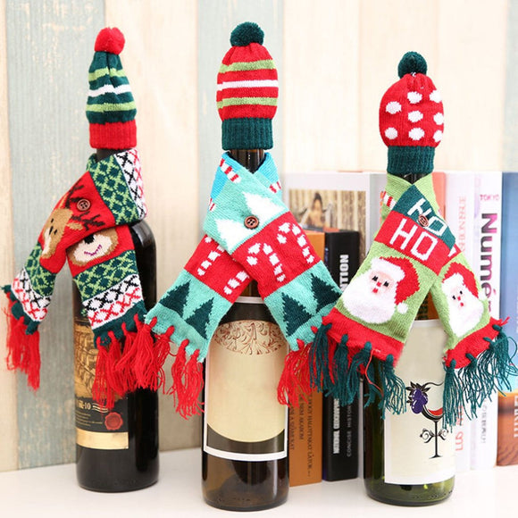 3 Patterns Knitted Tassel Scarf Hat Cap Christmas Red Wine Bottle Cover Decoration Home Party Novelty Great Gifts - Wines Club