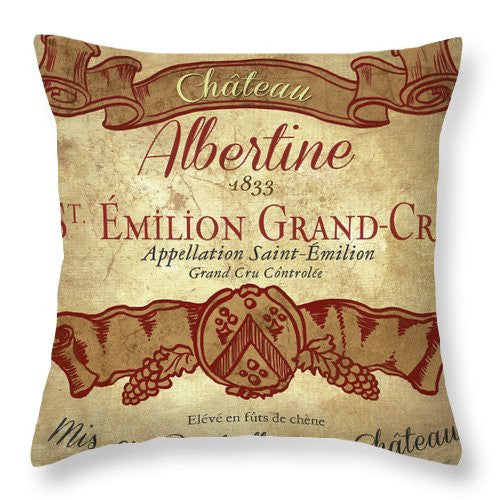 Wine Label Iv Throw Pillow - Wines Club