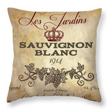 Wine Label Vi Throw Pillow - Wines Club