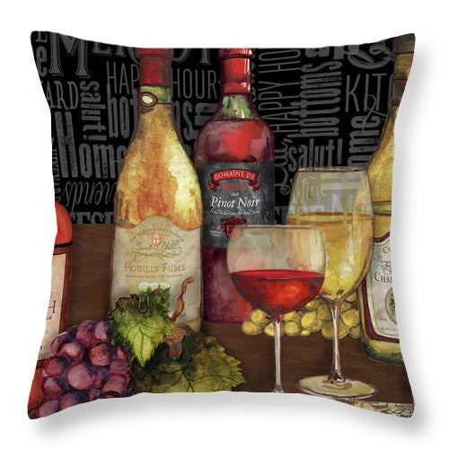 Wine Still Life On Black Throw Pillow - Wines Club