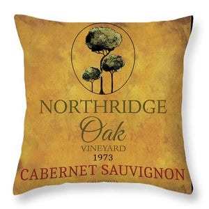Still Life Wine Label Square I Throw Pillow - Wines Club