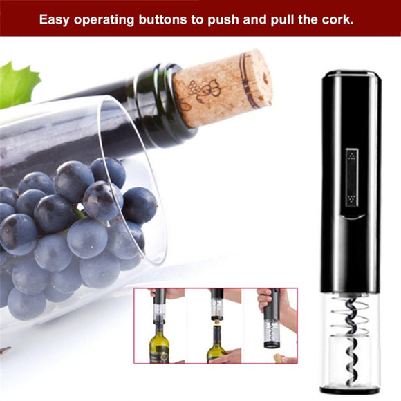Black Color Portable Size K1 Dry Battery Powered Design Electric Bottle Opener Automatic Household Use Wine Bottle Opener - Wines Club