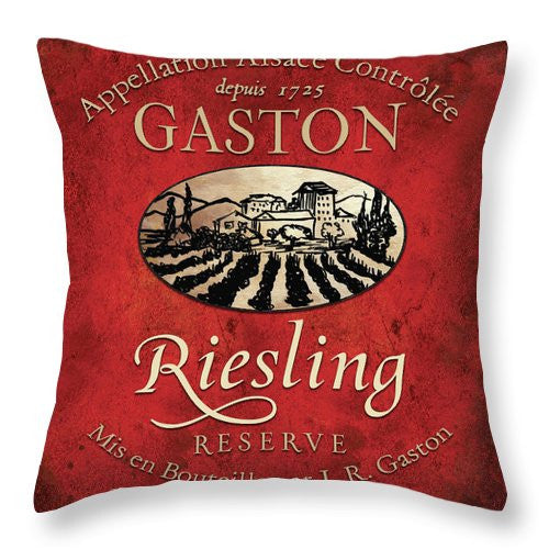 Still Life Wine Label Square V Throw Pillow - Wines Club