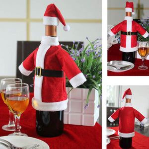 2018 Christmas Party Decoration Red Wine Bottle Covers Clothes With Hats Christmas Dinner Table Decoration
