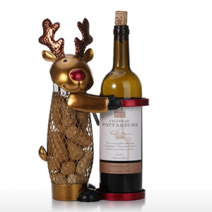 Netted Christmas Elk Wine Rack Animal Wine Holder Cork Container Metal Practical Craft Home Decor - Wines Club