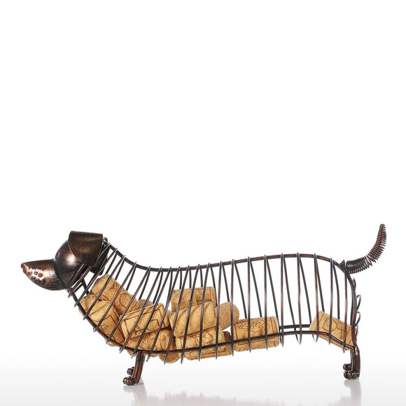 Tooarts Dachshund Wine Cork Container Iron Craft Animal Ornament Gift, Brown, 13.8 * 4.7 * 5.9inches - Wines Club
