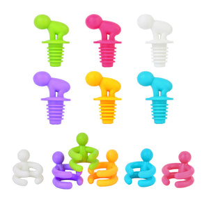 Personalized Plastic Red Wine Stopper Sealing Plug Cup Clip Set - Wines Club