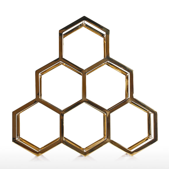 Honeycomb Wine Rack Metal Wine Holder Innovative Wine Holder 6 Bottle Rack Horizontal Storage Compact Design Free Standing Home Decor Practical Gift - Wines Club