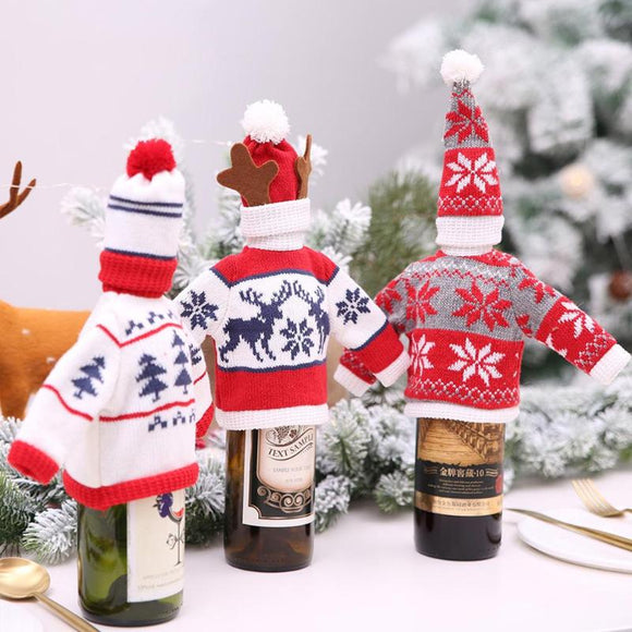Red Wine Bottle Cover Santa Claus Snowman Home Christmas Decoration Knitting Wine Bottle Cover Navidad Christmas Ornaments - Wines Club