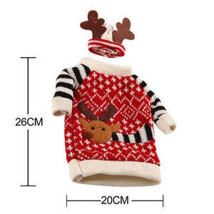 Christmas Wine Bottle Decor Set Santa Claus Snowman Deer Bottle Cover Clothes Kitchen Decoration for New Year Xmas Dinner Party - Wines Club