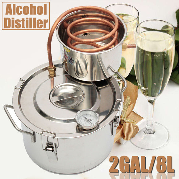 2GAL/8L ALCOHOL STAINLESS DISTILLER BREW KIT HOME MOONSHINE WINE MAKING BOILER - Wines Club