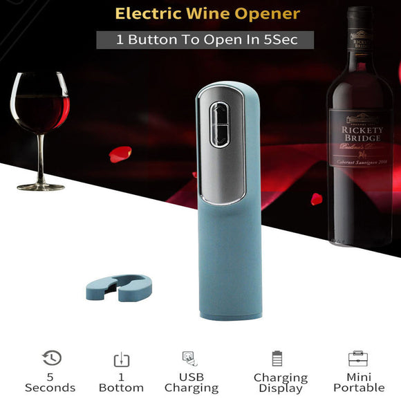 Automatic Electric Beer Wine Bar Corkscrew Bottle Cap Opener Tool USB Portable