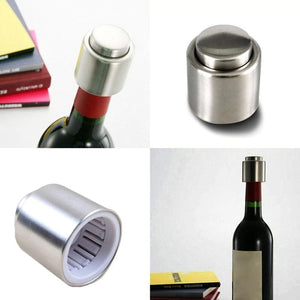 Stainless Steel Vacuum Wine Bottle Stopper Plug Bottle Cap Dous - Wines Club